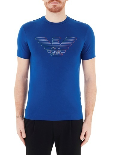 Emporio Armani  Logo Baskılı Bisiklet Yaka Pamuklu T Shirt Erkek T Shırt 3K1Tca 1J11Z 0921 Lacivert